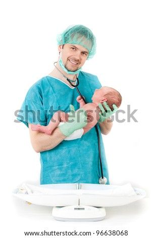 doctor and baby on a white background. Little baby on scales.