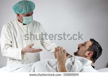 Doctor and his patient talking