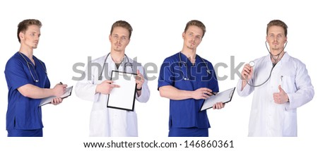 Doctor and  intern with clipboard and stethoscope. Isolated on white background.