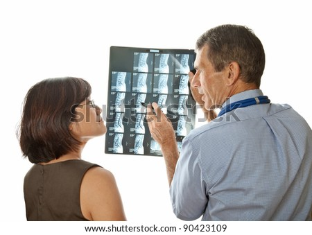 Doctor and Patient Discuss MRI (Xray) Spinal Scans
