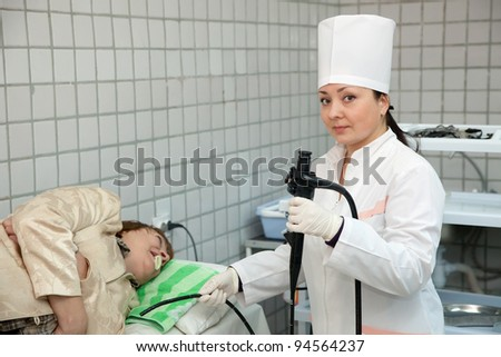 Doctor and patient during endoscopy exam in clinic