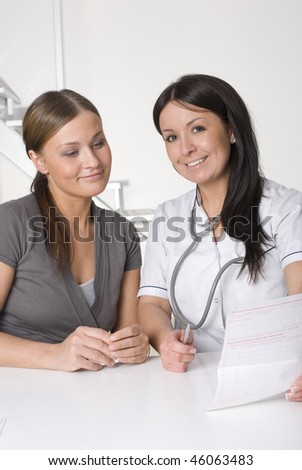 Doctor and patient in doctors off