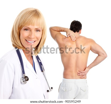 Doctor and patient man with a back pain. Isolated on white background.