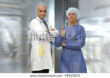 Doctor and patient posing in medical facilities