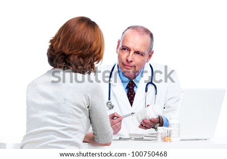 Doctor and patient woman. Isolated on white background.