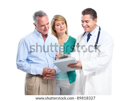 Doctor and senior couple patients. Isolated over white background.