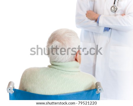 Doctor and Senior Woman over white background