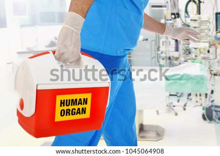 Doctor brings organ donation for organ transplantation in op of hospital