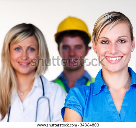 Doctor, businesswoman and architect smiling together at the camera