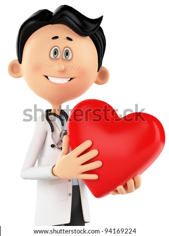 doctor cartoon is holding a heart portrait