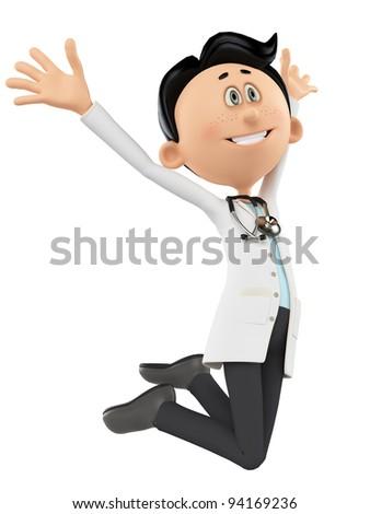 doctor cartoon is super happy