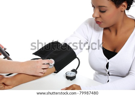 Doctor checking blood pressure of pregnant woman, isolated on white background