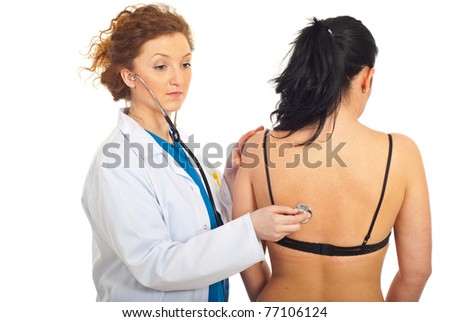 Doctor checkup patient woman back isolated on white background