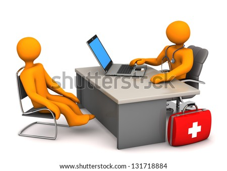 Doctor consults the patient. 3d illustration with white background.