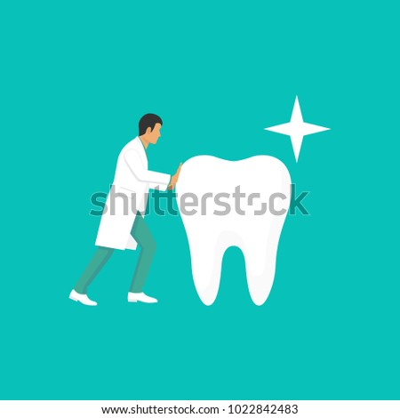 Doctor dentist hold big healthy clean white tooth. Stomatology concept. Medical care for teeth. Illustration flat design. Isolated on background.