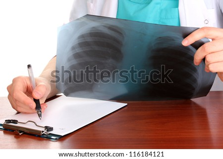 Doctor describes radiograph patient isolated on white