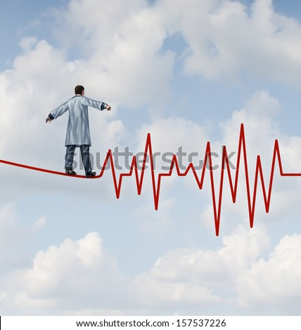 Doctor diagnosis danger and risk as a medical concept and health care metaphor with a physician in a lab coat walking on a tightrope or high wire shaped as an ECG pulse trace to monitor patients.