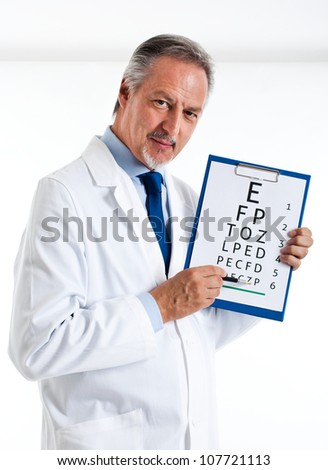 Doctor doing an optical test