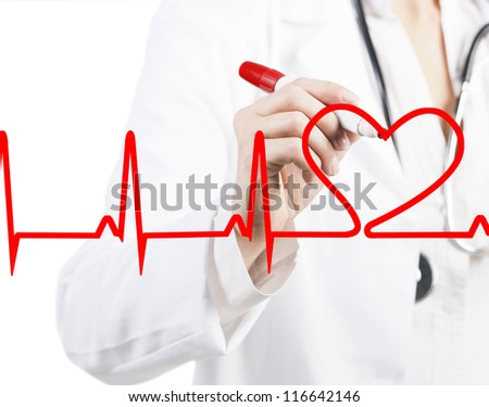 Doctor drawing a heart beats ECG