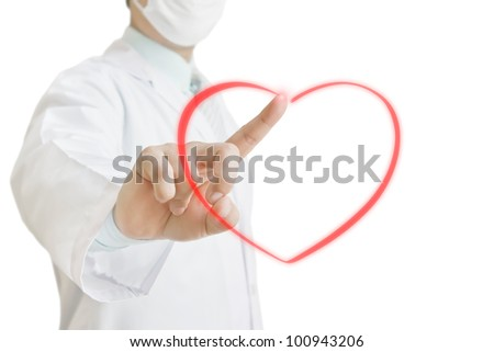 Doctor drawing heart on virtual screen - stock photo