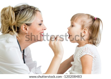 doctor examining baby isolated on white background