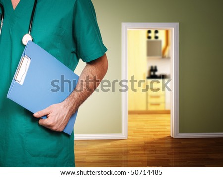 doctor give help at patient home, interior house background