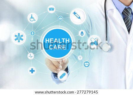 Doctor hand touching HEALTH CARE sign on virtual screen