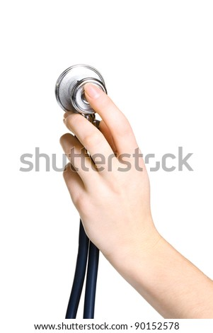 Doctor hand with stethoscope isolated on white