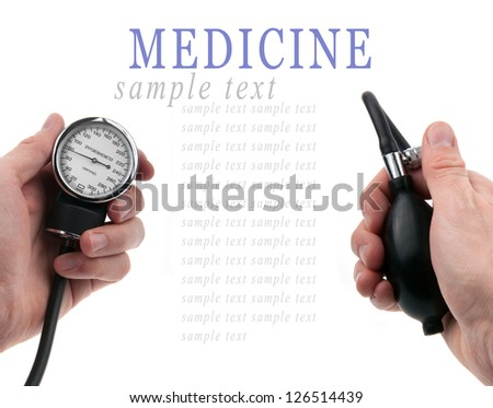 Doctor hands holding sphygmomanometer isolated on white background