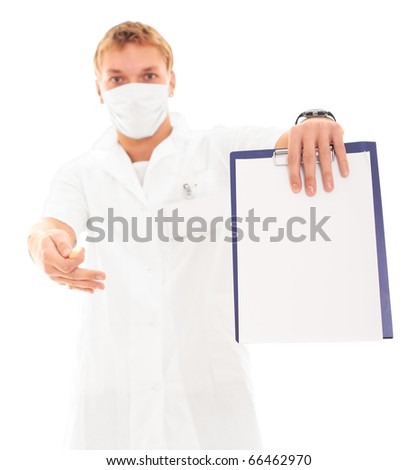 Doctor holding a white blank card isolated on white background, focus on blank