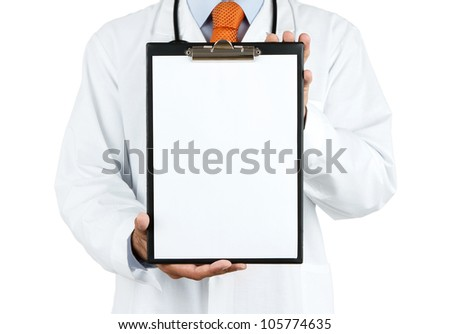 Doctor holding blank clipboard with copy space isolated on white background