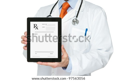 Doctor holding digital tablet with blank prescription on it