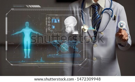 doctor holding hand on start button if futuristic screen, futuristic medical technology, human anatomy scan and x-ray image