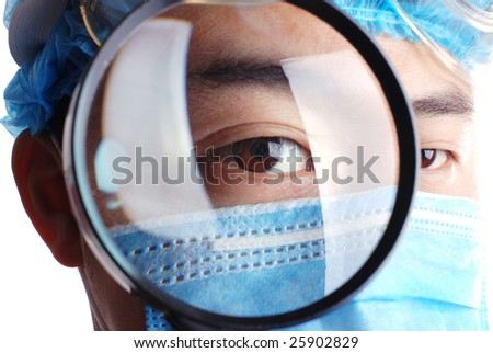 doctor holding magnifier on an isolated white background