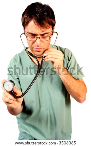 doctor holding out his stethoscope and measuring a heart rate listening for cardiovascular problems