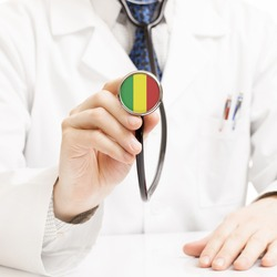 Doctor holding stethoscope with flag series - Mali