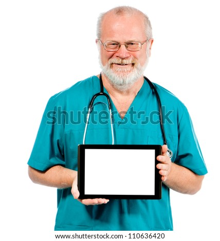 Doctor holding tablet horizontally with white place for your text