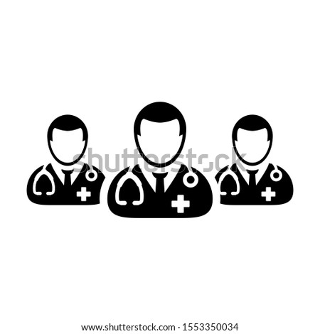 Doctor icon group of male physicians person profile avatar for medical and health consultation in a glyph pictogram illustration