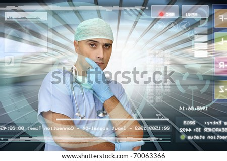 Doctor in medical facilities with modern screen