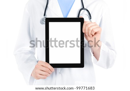 Doctor in white coat with stethoscope showing blank digital tablet pc. Isolated on white.