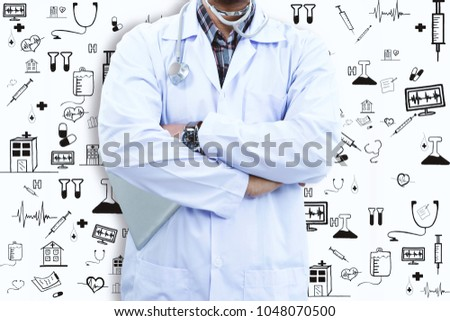 Doctor is using tablet and icon. #1048070500