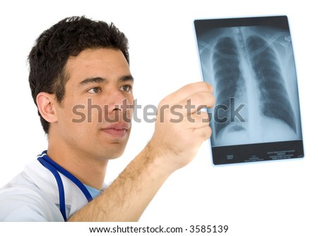 doctor looking at an xray of the thorax - isolated over a white background
