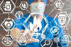Doctor man presses fire flame button on virtual informative digital panel. Hospital security system. Medical Alert. Medicine Attention. Clinic fire extinguishing technology.