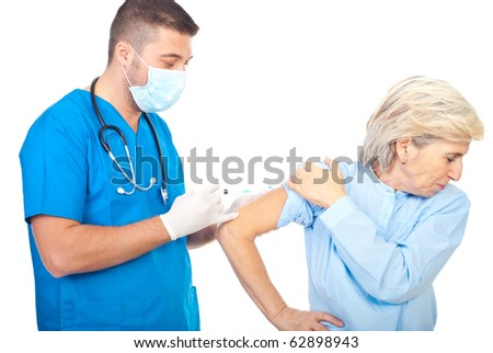 Doctor man vaccine for flu a patient senior woman isolated on white background