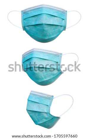 Doctor mask and corona virus protection isolated on a white background, 3 angles medical mask, With clipping path