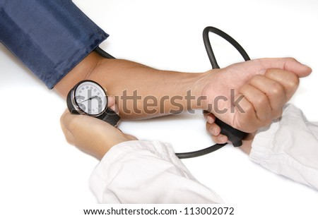Doctor measuring blood pressure  on white background