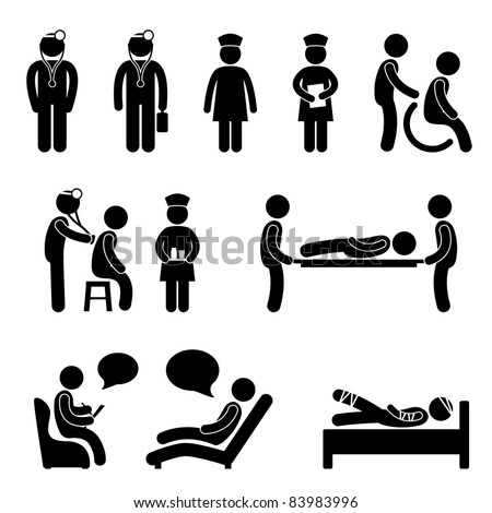 Doctor Nurse Hospital Medical Psychiatrist Patient Sick Icon Sign Symbol Pictogram