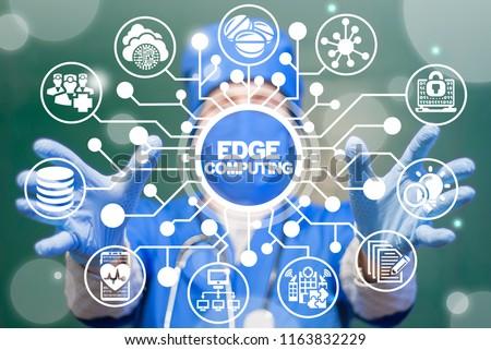 Doctor offers a edge computing on a virtual circuits medical informative panel. EDGE Computing Health Care Tech. Smart Modern Medicine Clinic Web Communication Data concept.