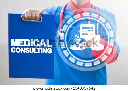 Doctor offers health care consulting concept. Pharmacy consult. Medical consulting.