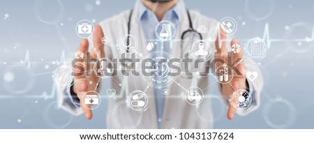 Doctor on blurred background using digital medical futuristic interface 3D rendering #1043137624